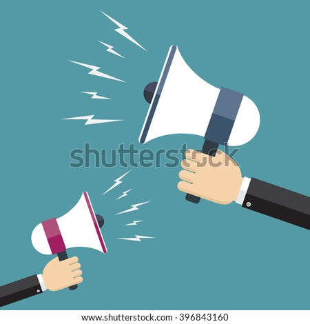 Two hands holding megaphones opposite each other. Communication and promotion, marketing and advertising concept.