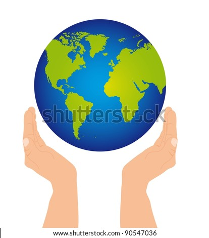two hands holding planet over white background. vector