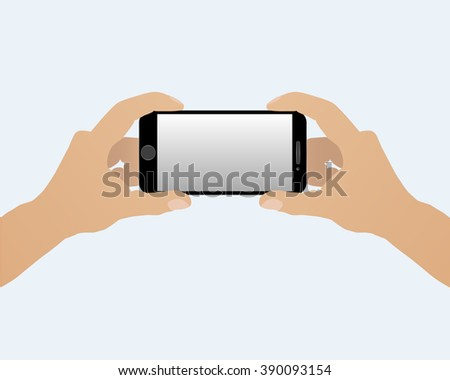 Two hands holding smart phone horizontally isolated on a light background - stock vector