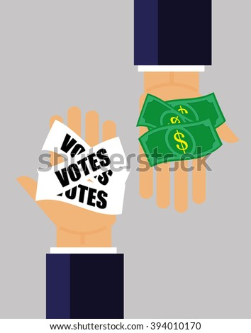 Two hands pass money for votes to each other as a concept for corruption in elections and politics - stock vector