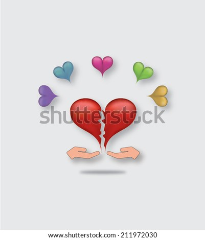 Two hands passing each other broken pieces of heart as a symbol of reconciliation or peace