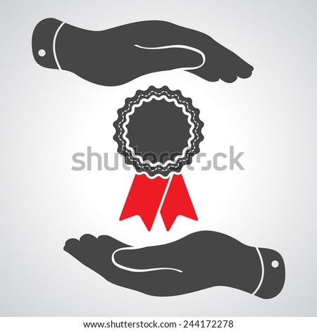 two hands protecting badge with red ribbons icon - vector illustration - stock vector