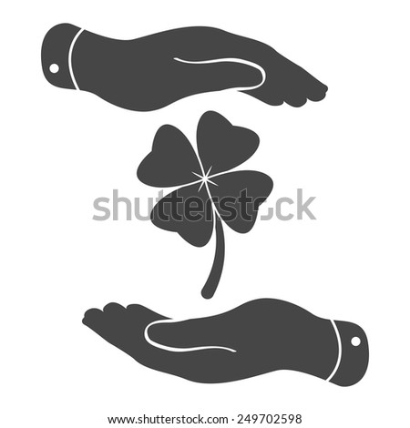 two hands protecting clover with four leaves sign icon on a white background. Saint Patrick symbol - stock vector