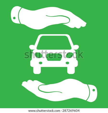 two hands protecting flat car icon - stock vector