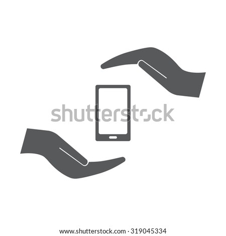 Two hands protecting or giving a smart phone