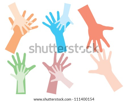 Two hands sign set - stock vector
