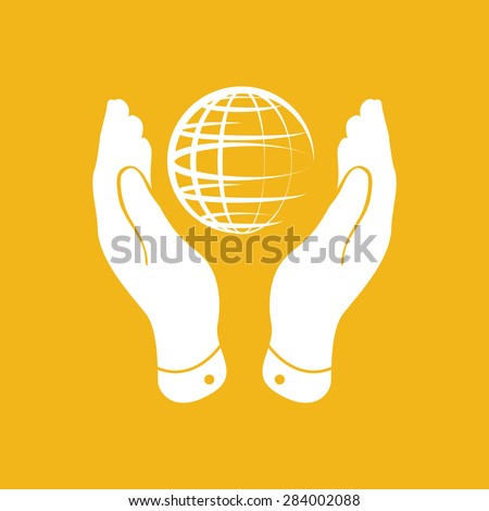 two hands take care of globe planet icon on yellow background - stock vector