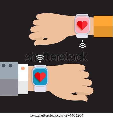Two hands with a smart watch displaying a heart. Concept of connecting people. Flat design - stock vector