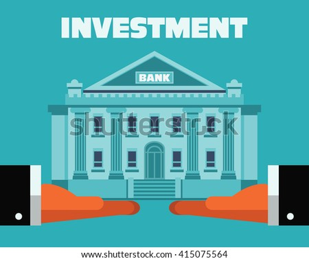 Two hands with bank building. Saving and investing money concept. Future financial planning concept. Modern vector flat design. Insurance, credit cards, mortgages and banking service - stock vector