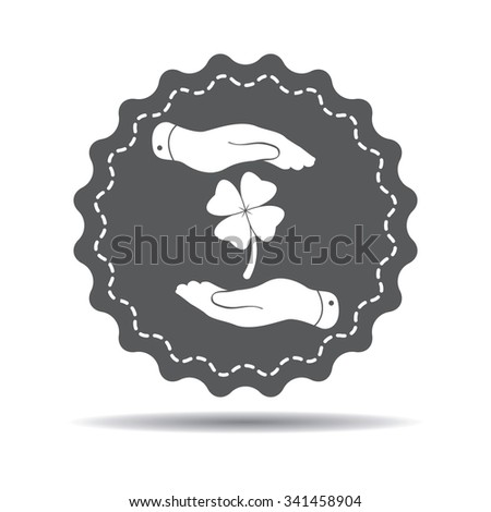 two hands with Clover with four leaves sign icon on a white background. Saint Patrick symbol - stock vector