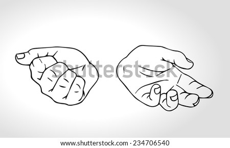 Two hands with open fist and close fist. Concept of choice. Squeezed in a fist. Outline vector illustration