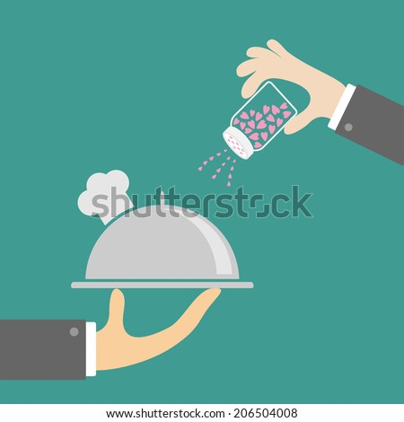 Two hands with silver platter cloche chef hat and salt shaker. Flat design. Vector illustration - stock vector
