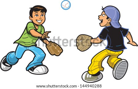 Two Happy Boys Playing Catch with Baseball and Baseball Gloves - stock vector