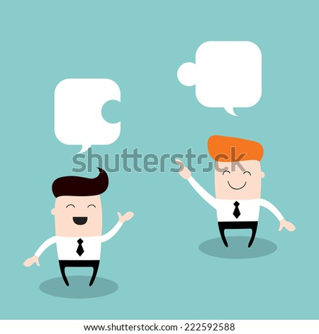 Two happy businessman discuss their work. Partnership, successful business concept. Vector illustration. - stock vector