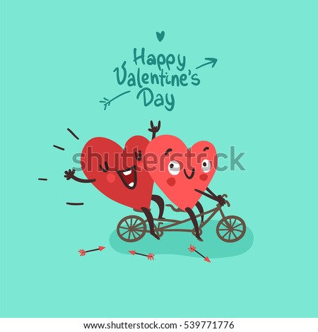 Two happy hearts in love biking. Happy Valentine's day Card