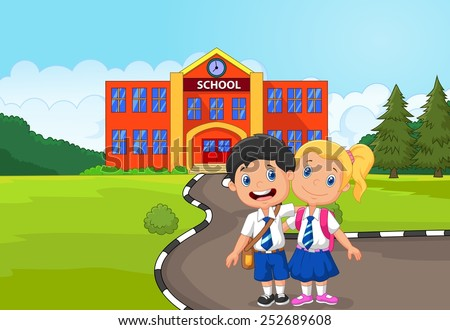 Two happy students standing  in front of school building - stock vector