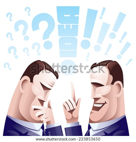 Two hard thinking men. Eps8 CMYK Organized by layers Global colors Gradients used - stock vector