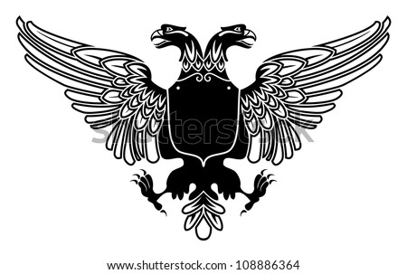 two headed eagle coat of arms with empty banner on its stomach - stock vector