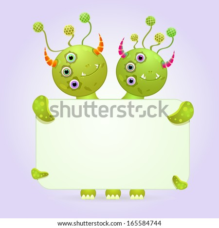Two Headed Green Monster Holding Empty White Paper Sheet. Vector Illustration - stock vector