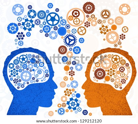 Two Heads Better - stock vector