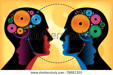 Two heads of people with mechanisms, communication, gear - stock vector