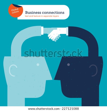 Two heads shaking hands. Vector illustration Eps10 file. Global colors. Text and Texture in separate layers. - stock vector