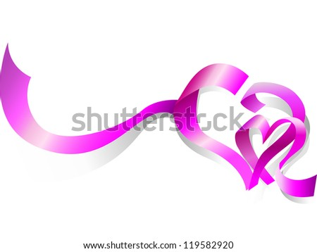 Two heart of the ribbons on a white background