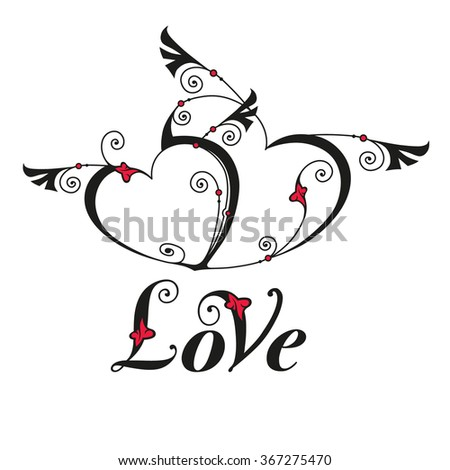 Two heart with wings for design template. Valentines day card. Vector illustration - stock vector
