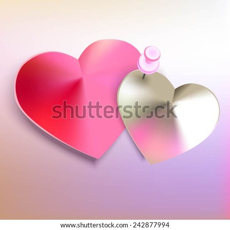Two hearts bonded by push pin. Vector illustration. - stock vector
