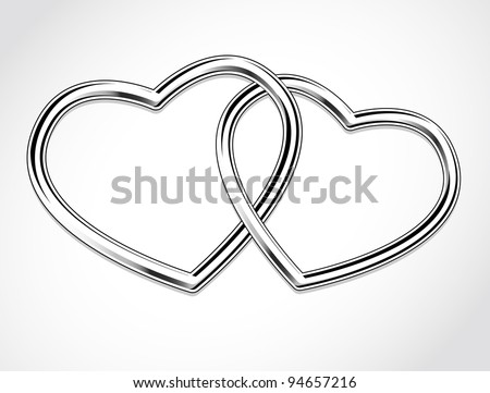 Two Hearts. Happy Valentine's Day - stock vector