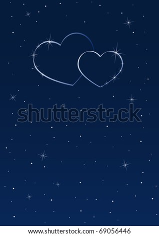 Two hearts in the starry sky - stock vector