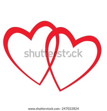 two hearts interwoven on white background - stock vector