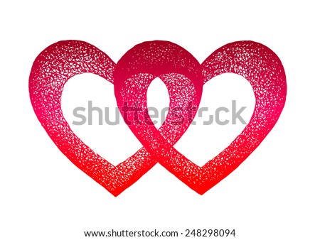 two hearts joined together. Vector hand drawn illustration - stock vector
