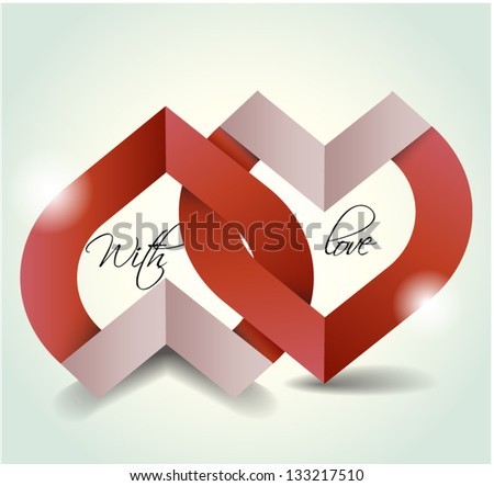 Two hearts made from paper stripes. Wedding, greeting, invitation card Valentine's Day card. - stock vector
