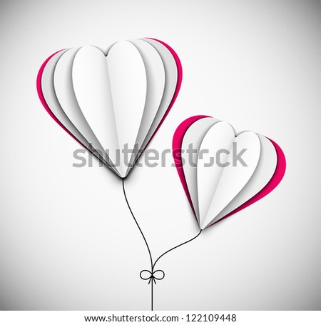 Two hearts of paper. Eps 10 - stock vector