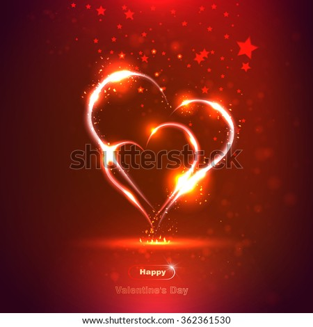 two hearts on a bright red background, neon, vector - stock vector