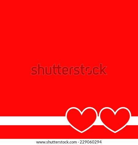 Two hearts on a red background. Vector illustration.