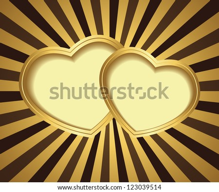 Two hearts on background with rays. Can be used as a Valentine's Day card - stock vector