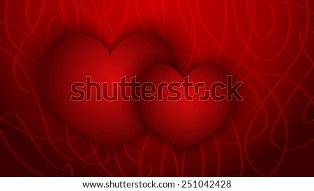 Two hearts on red abstract background - stock vector