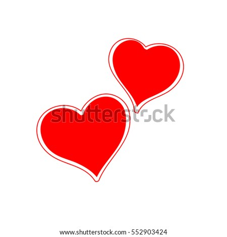 Two hearts on Valentine's day. Vector symbol, icon