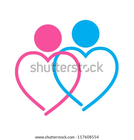 two hearts symbol on white background - stock vector