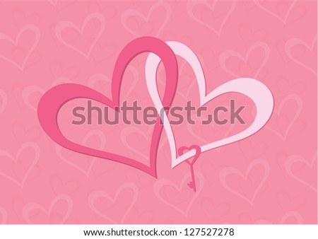Two hearts white and pink with key - stock vector