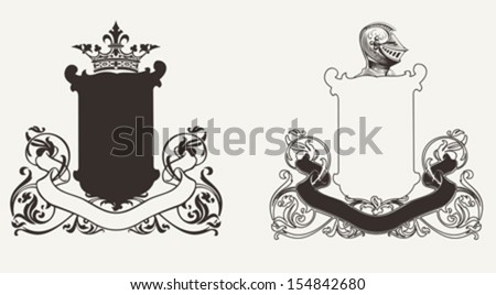 Two Heraldry Knight Crests - stock vector