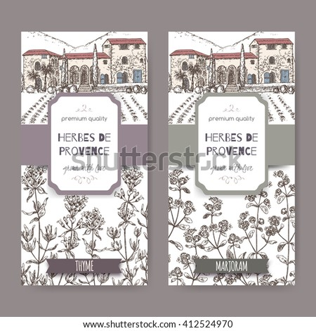 Two Herbes de Provence labels with Provence mansion landscape, thyme and marjoram sketch on white. Culinary herbs collection. Great for cooking, medical, gardening design. - stock vector