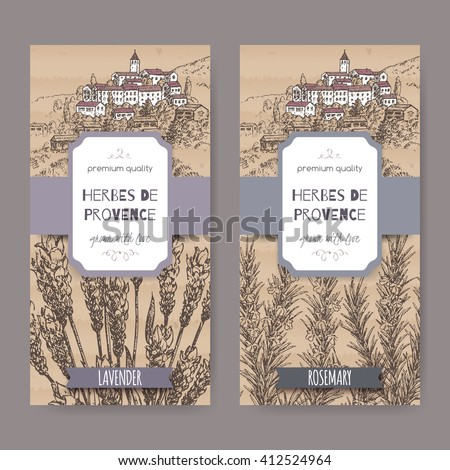 Two Herbes de Provence labels with Provence town landscape, lavender and rosemary sketch. Culinary herbs collection. Great for cooking, medical, gardening design. - stock vector