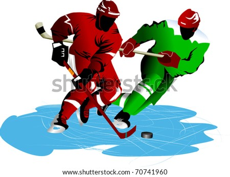 two hockey players fighting for possession of the puck; - stock vector