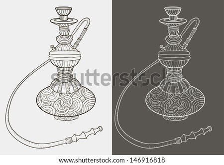 Two hookah. Pattern. Doodle. Black and white. Vector illustration - stock vector