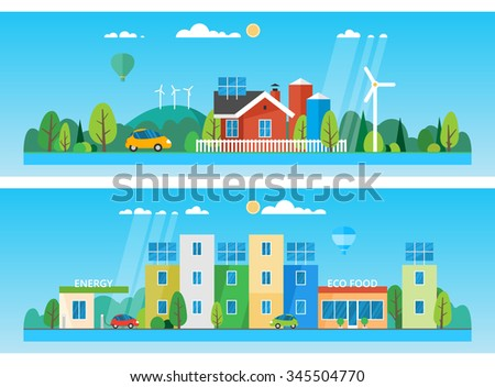 Two horizontal banners. red house on a background of hills and trees. The use of renewable energy sources. Ecosystem. The eco-friendly city - stock vector
