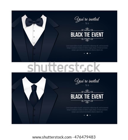 Two Horizontal Black Tie Event Invitations Stock Vector