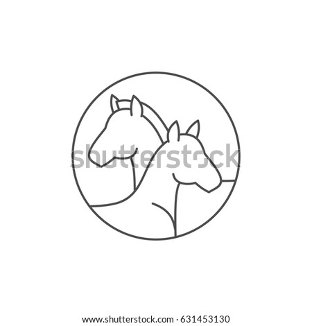 Two horse heads vector line icon